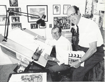 "The late Dr. Gordon S. Anderson, Sr.—Director and Founder of Tele-Missions International is responsible for the origination of the ""Focus on Faith"" Film/Tape Series.  He is pictured here with ""Archie"" Cartoonist, Al Hartley."